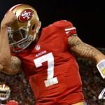 "San Francisco 49ers quarterback Colin Kaepernick ""Kaepernicking"" with his tattooed arm."
