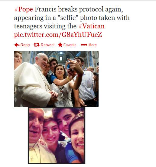 Pope Francis takes a selfie with Italian teenagers.