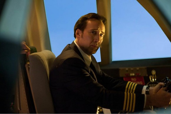 "Nicolas Cage plays Captain Rayford Steele in the new ""Left Behind"" movie."