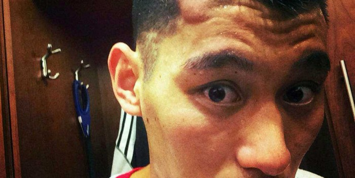 Jeremy Lin shares a photo on Facebook of his bumpy head caused by Kevin Love's elbow.