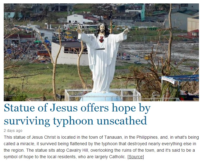 This Jesus statute survived Typhoon Haiyan in the Philippines.