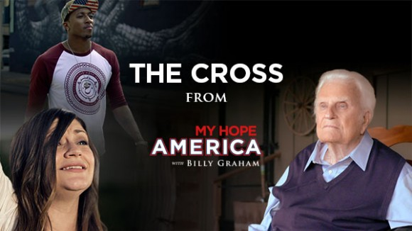 "Lecrae, Lacie Sturm and Billy Graham appear in ""The Cross."""