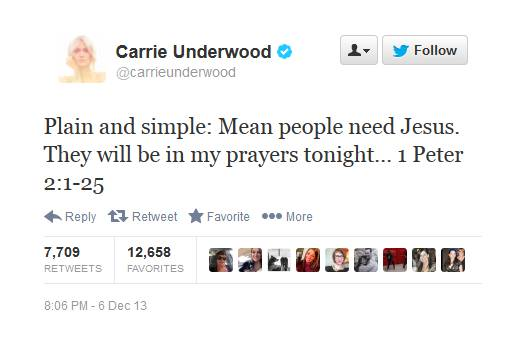 "Carrie Underwood, a Christian, apparently hits back at critics of her live ""Sound of Music"" performance on NBC."