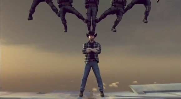 "Chuck Norris does an ""epic split"" rivaling Jean Claude Van Damme's in animated video."