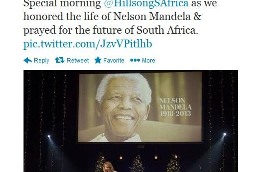 Pastor Phill Dooley of Hillsong Cape Town shared a photo on Twitter of his church honoring Nelson Mandela Sunday morning, Dec. 8, 2013.