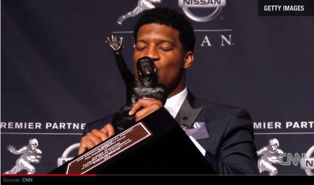 Jameis Winston wins the 2013 Heisman Trophy.