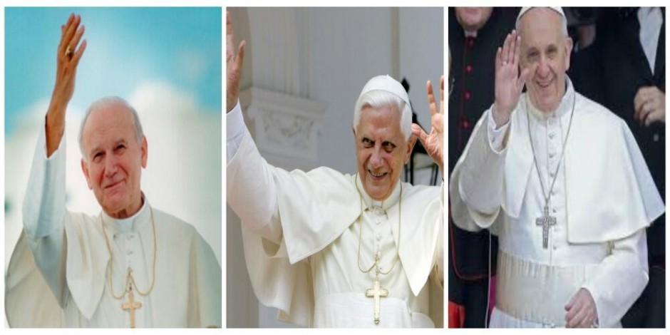 Pope John Paul II, Pope Benedict XVI, and Pope Francis I.