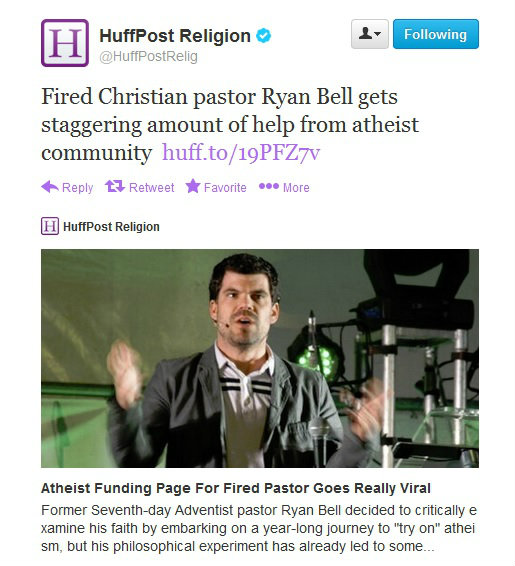 Fired Christian Pastor Ryan Bell gets financial help from atheists. (Photo: Twitter)